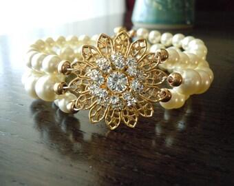 Sunflower...Swarovski Filigree Flower and Pearl Triple Strand Bracelet...FREE SHIPPING