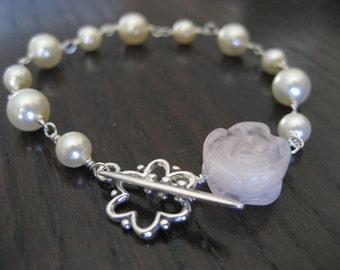 Carved Rose Quartz and Swarovski Pearl Bracelet...FREE SHIPPING