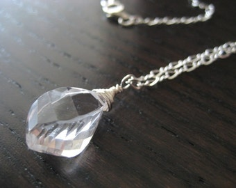 Just a Twist...Crystal Quartz Pendant Necklace...FREE SHIPPING