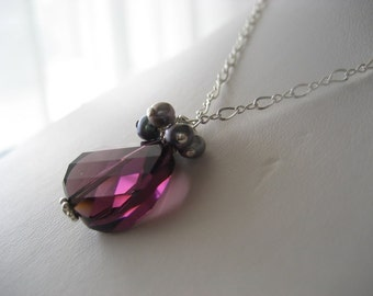 Let's Do The Twist...Amethyst Crystal and Freshwater Pearl Pendant Necklace...FREE SHIPPING