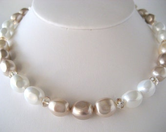 Shell Pearl and Swarovski Crystal Necklace...FREE SHIPPING