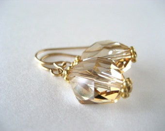 Cosmic Shaped Swarovski Crystal in Golden Shadow...Gold filled...FREE SHIPPING