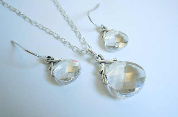 Jewelry Bridal Set...Silver Shade...Swarovski Briolette Pendant Necklace and Earrings...FREE SHIPPING