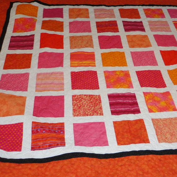 NEW LOWER PRICE Queen size Bright pink and orange quilt