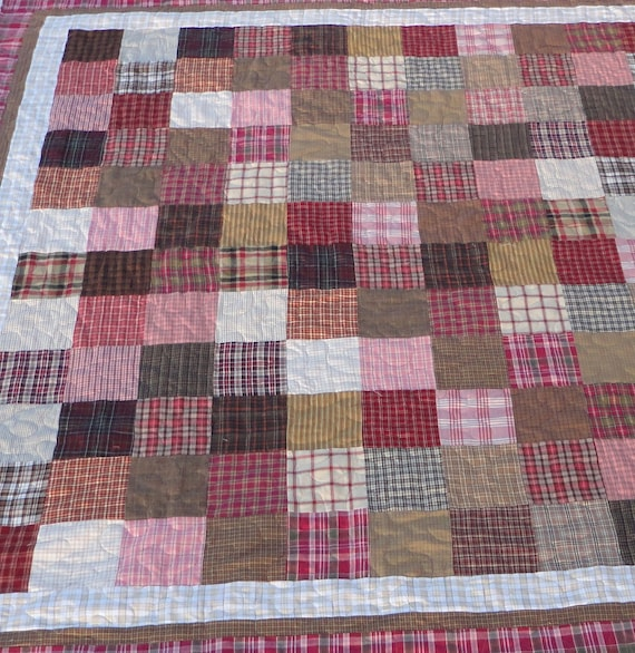 Pink and brown homespun queen size quilt
