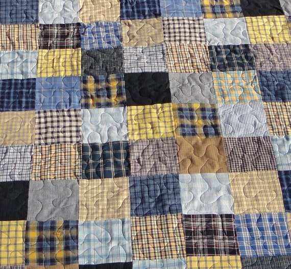 Queen size quilt made with Blue and yellow homespun plaids