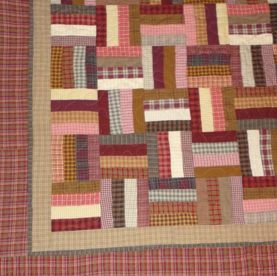 Queen size Red, brown, tan and gold homespun quilt