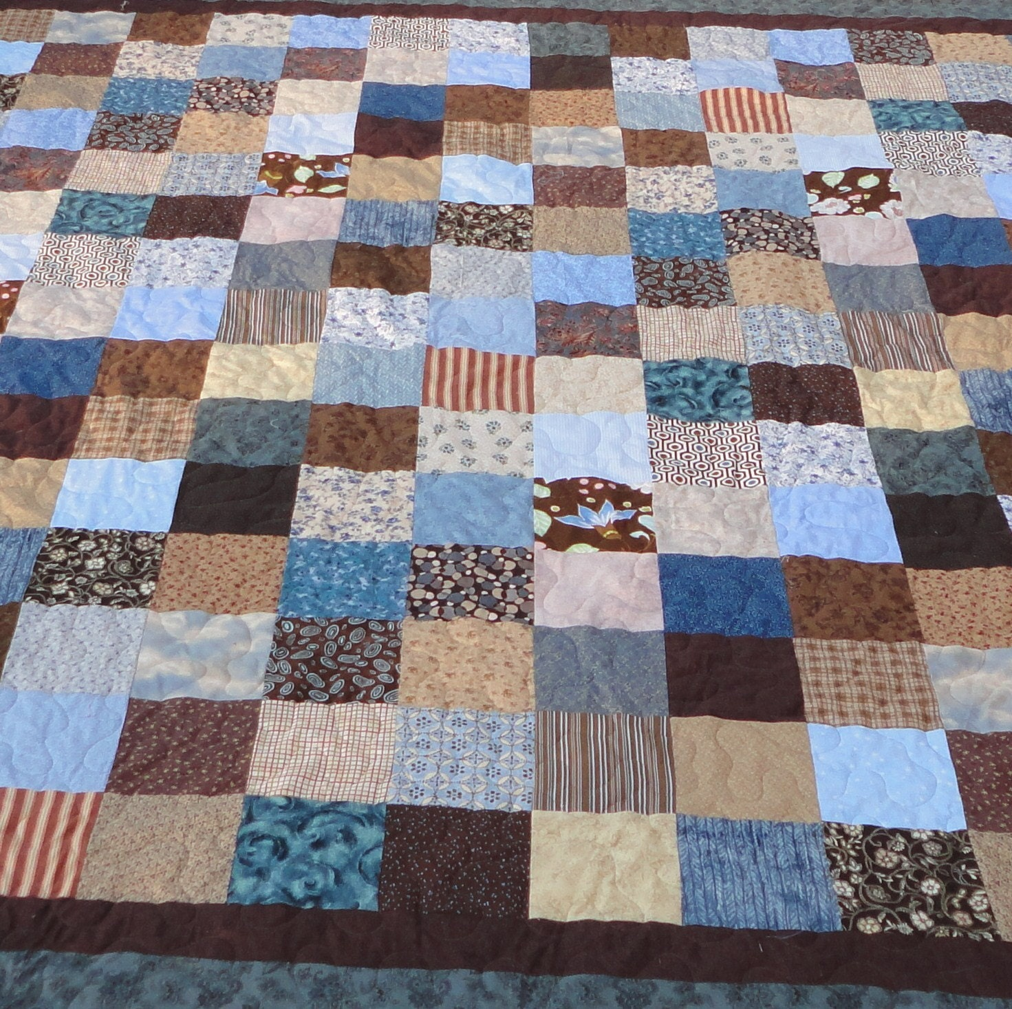 King Size Blue And Brown Quilt