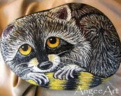 LITTLE COON ... Original Art Painted on Stone