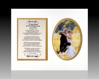 Rustic Wedding To My Parents on My Wedding Day Personalized Thank You Gift wedding favor