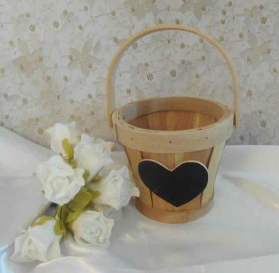Flower Girl Basket with Chalkboard Heart to Personalize