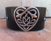 HALF OFF SALE - Celtic Heart Concho and Black Leather Cowgirl Cuff