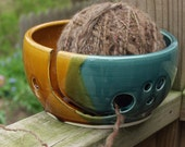 Ready to Ship Yarn Bowl Knitting Crocheting Dish Knitting Bowl Circle Cut Outs Peacock Amber