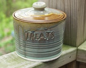 Treat Jar  Pet Treat Jar Candy Lidded Jar Rustic Moss  Ready to Ship