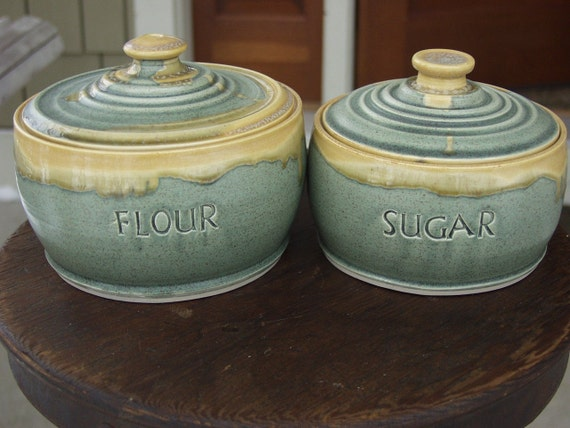 Low Profile Flour and Sugar Canister set of 2 Lidded Jar Set Ready to Ship