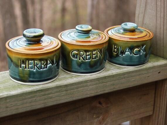 Loose Leaf Tea Canisters Set-Lidded Storage Jar- Peacock Amber-Ready to Ship