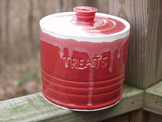 Ruby Red Lidded Treat Jar for Mom Pet Puppy Love Dog Kids Candy Cane Red