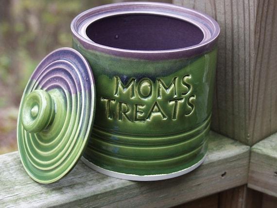 Ready to ship Moms Treat Jar, Candy-Lidded Jar-Plumy Shamrock