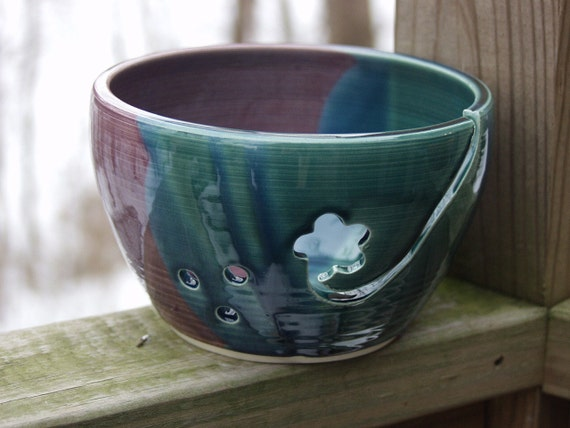 Yarn Bowl, Knitting Dish, Knitting Bowl Peacock and Plum Flower Cut Out