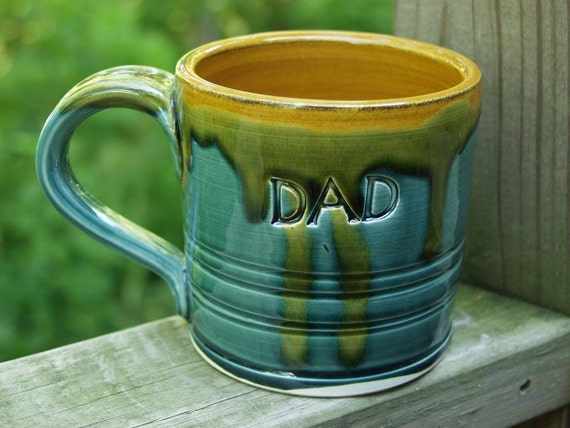 DAD Fathers Day Hand Thrown Mug Peacock Amber Under 25 dollers Ready to Ship