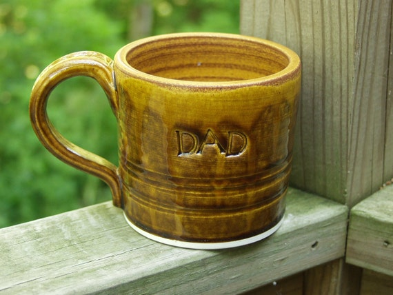 DAD Fathers Day Hand Thrown Mug Dark Saddle Amber Under 25 dollers Ready to Ship