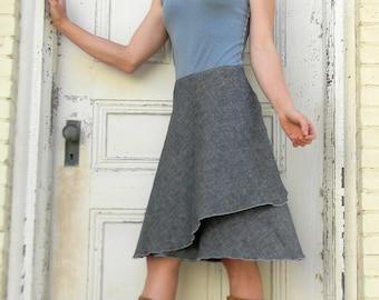 Organic Cotton Lightweight Denim & Hemp Wrap Skirt