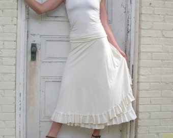 Xia ~ Ruffled Wrap Skirt ~ Bamboo & Organic Cotton ~ Made to Order