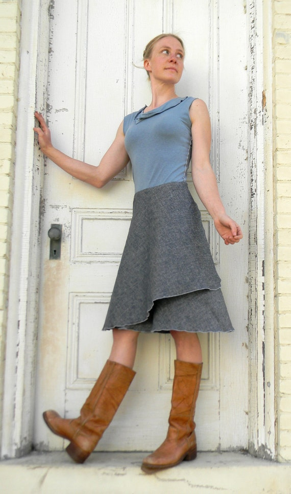 Cinnamon ~Wrap Skirt ~ Hemp and Organic Cotton Lightweight Denim ~ Made to Order