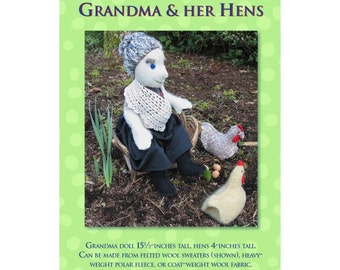 Grandma and Her Hens Soft Doll Sewing Pattern