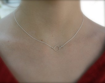Single Circle Necklace- Sterling Silver