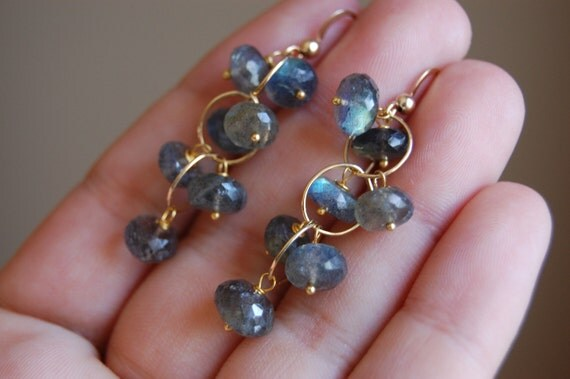 Labradorite Rondelle Cluster Earrings- Gold Filled or Sterling Silver by Yania Creations