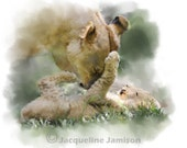 Original Art, ACEO, Lioness and Cub, Raspberry Time