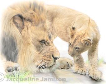 Original Art, ACEO, Lion and Cub