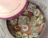 Instant Collection - Vintage Mirrored Glass Buttons in Tin