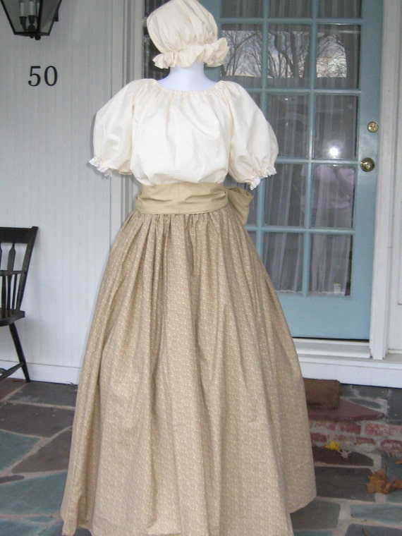 Womens Prairie Pioneer Colonial Dress Costume Skirt Mob Cap Sash Muslin Civil War Frontier