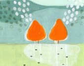 archival fine art giclee print . semi abstract landscape . orange trees