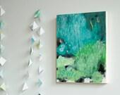 original mixed media painting on wood . ready to hang . OOAK . mist garden 2