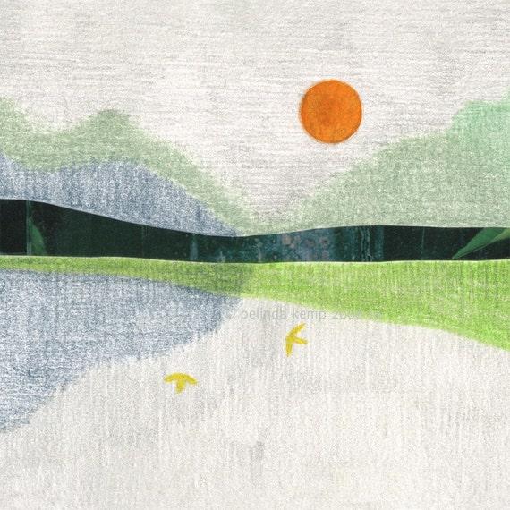 full moon with yellow birds . fine art print