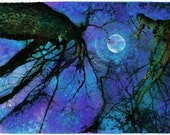 Winter moon,Original Signed Fine Art Altered photograph 11x17 inches
