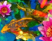 Koi play,Original, 11x17inches, Fine art photography, Gift Ideas / Gardener & Naturalist, water garden, Artist gardens, Lotus, koi art