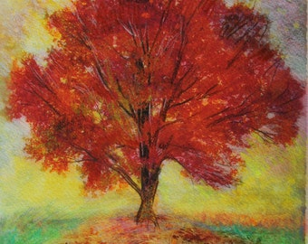Autumn sunset,8x10 inches, Mixed media photography, nature, trees, Fall, Original Fine Art photograph, Wall decor, tree, Fall decor, red