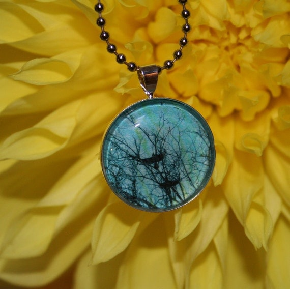 Birds in flight, Original photo pendant 1 inch circle,ball chain and a gift bag, necklace, birds, tree branches, blue, gift