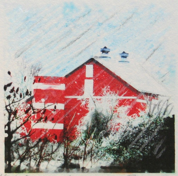 Winter farm,Tiny original Signed Fine art photograph with color pencil drawing 1.75