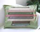 SALE - Pillow Cover - Green Pink Grey - Vintage Zippers