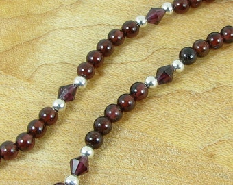 Garnet Beads and Bicones and Sterling Silver Necklace