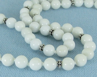 Long Handknotted White Jasper and Sterling Silver Necklace
