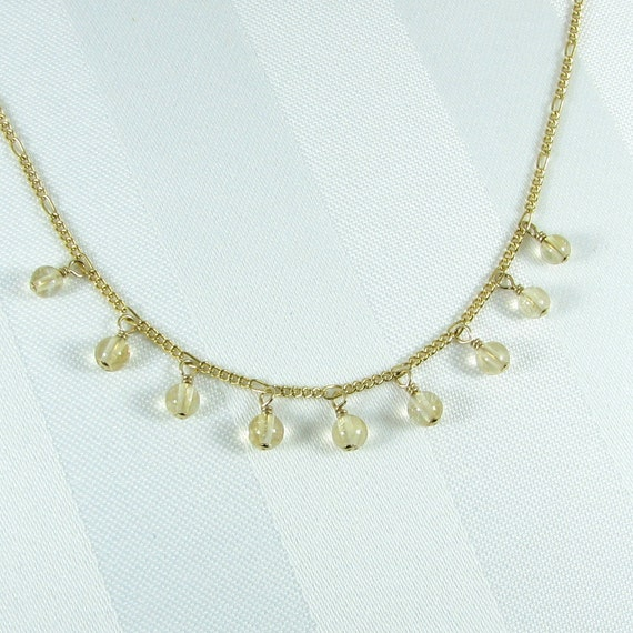 Delicate Citrine and Gold Filled Chain Necklace