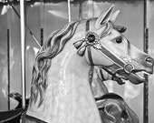Carousel Carnival Photograph Childrens Room Decor Nursery Decor Black And White Vintage Horse Figure Office And Home Decor