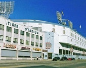 Old Tiger Stadium Detroit Baseball Michigan Photography, Detroit Decor Man Cave Boys Room Decor Lustre Paper Fine Art Gray Blue Charcoal