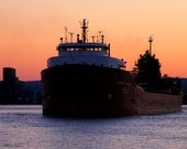 Freighter Photography Duluth Ship Nautical Photography Sunset Fine Art Orange Gold And Blue Lake Superior Leaving Port  5 x 7 Photograph